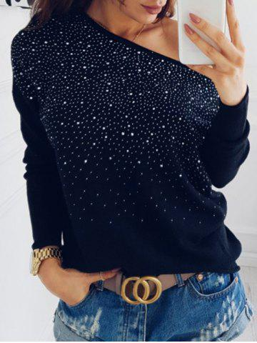 Buy Drop Shoulder Rhinestone Sweatshirt