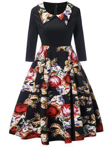 Buy Flat Collar Vintage A Line Printed Dress