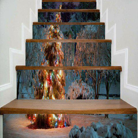 Sale Christmas Snowscape Pattern Removable Stair Stickers