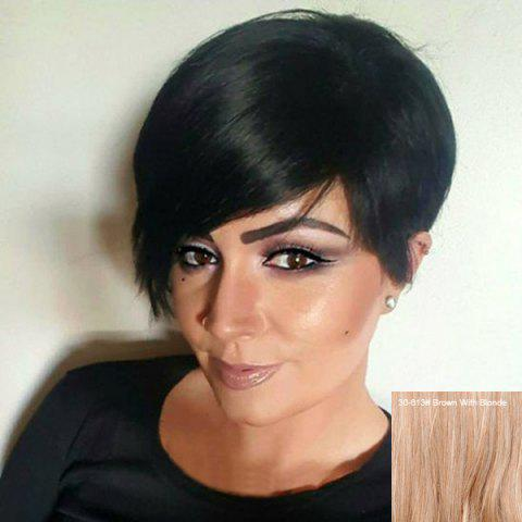Outfit Short Side Fringe Straight Human Hair Wig