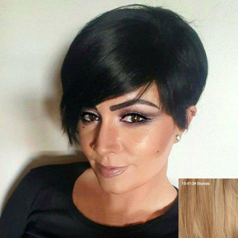 Chic Short Side Fringe Straight Human Hair Wig