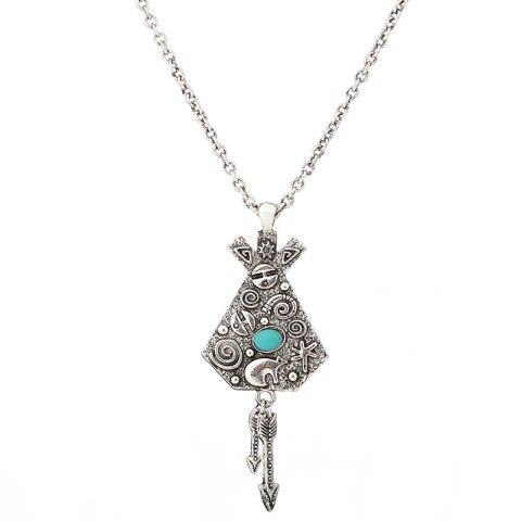 Unique Faux Turquoise Arrow Engraved Indian Sweater Chain