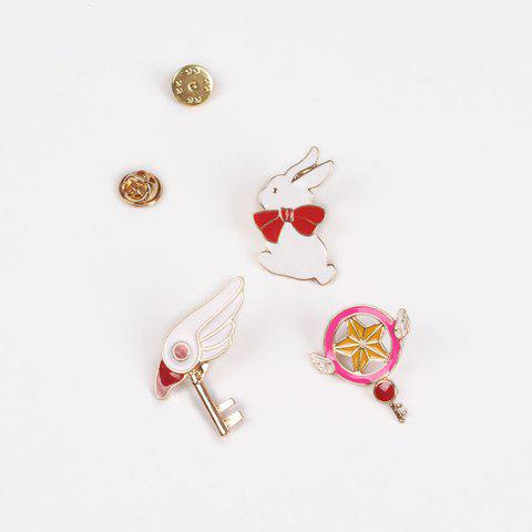 Trendy 3 Pcs Bird Head Rabbit Star Brooches