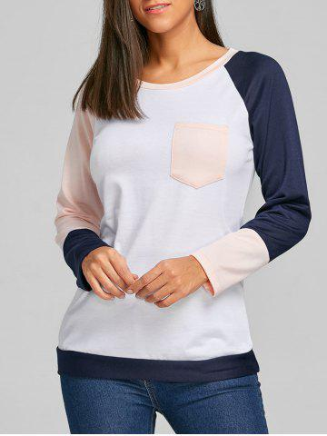 Chic Color Block Raglan Long Sleeve Top