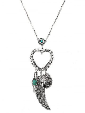 Shop Faux Turquoise Heart Indian Wing Sweater Chain