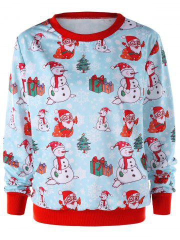 Unique Christmas Snowman Print Crew Neck Sweatshirt