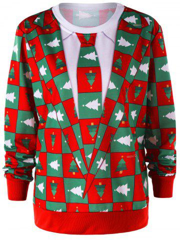 Trendy Christmas Pinetree Graphic Crew Neck Sweatshirt