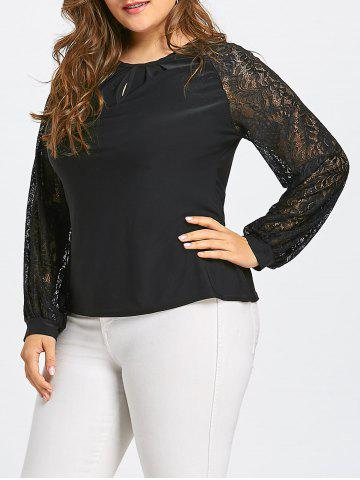 Store Plus Size Sheer Lace Sleeve T-shirt