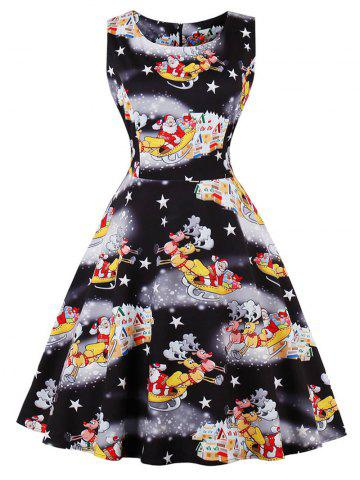 Cheap Vintage Santa Claus Print Christmas Dress