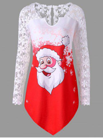Hot Christmas Plus Size Santa Claus Lace Trim T-shirt