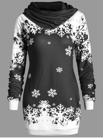 New Christmas Snowflake Longline Cowl Neck Sweatshirt