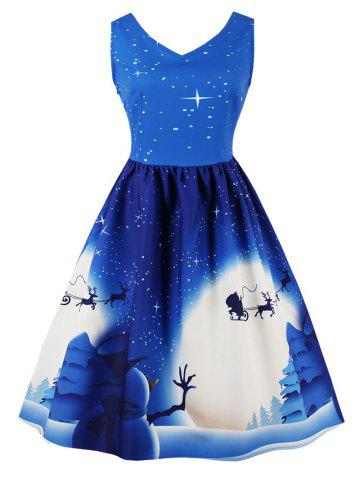 Latest Vintage Christmas Print Pin Up Dress