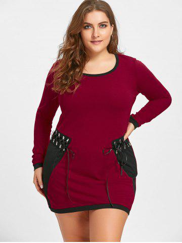 Plus Size Lace Up Long Sleeve Tee Dress