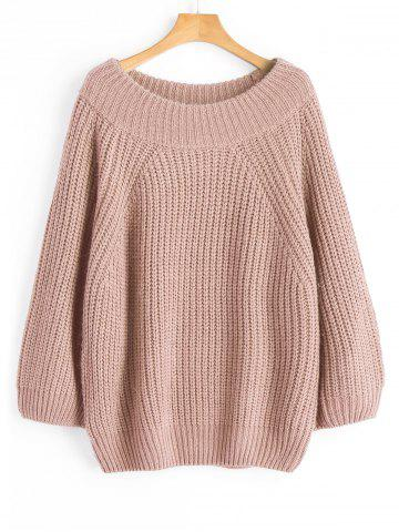 Nude Pink One Size Off Shoulder Chunky Pullover Sweater | RoseGal.com