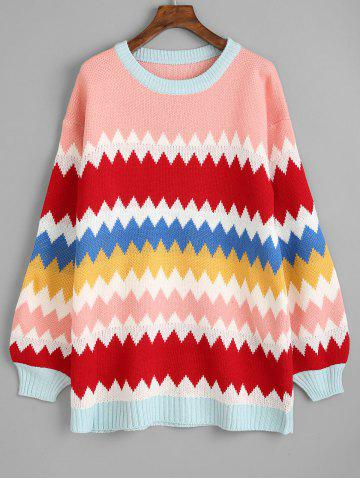 Outfits Colorful Zig Zag Tunic Sweater