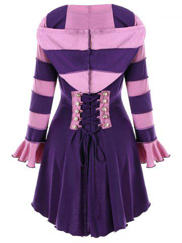 Chic Hooded High Low Corset Double Breasted Coat
