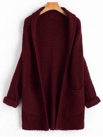 Affordable Open Front Curled Sleeve Batwing Cardigan