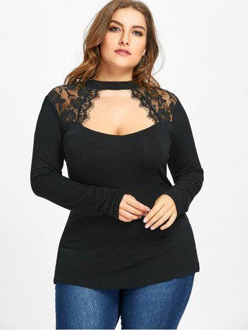 Plus Size Lace Trim Keyhole Top, Black