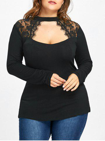Best Plus Size Lace Trim Keyhole Top