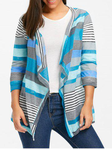 Trendy Color Block Striped Open Front Cardigan