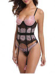 Lingerie See Through Lace Corset avec jarretière -