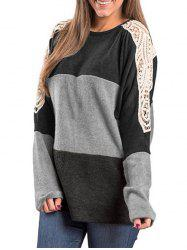 Color Block Lace Insert Tunic Tee -