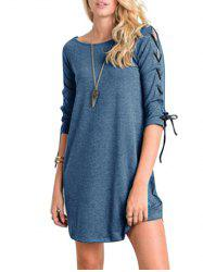 Mini Lace-up Casual Tee Dress -