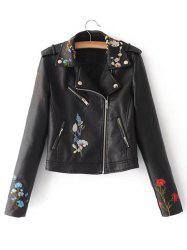 Embroidered Zip Faux Leather Jacket -