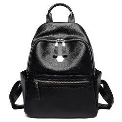 Side Pockets Faux Leather Backpack With Handle -