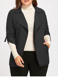 Roll Up Sleeve Turndown Collar Plus Size Trench Coat -