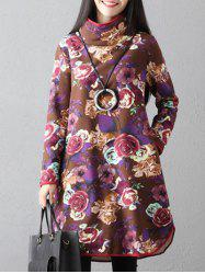 Flowers Print High Neck Dress -
