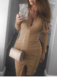 Plunge Neck Ruched Slit Bodycon Dress -