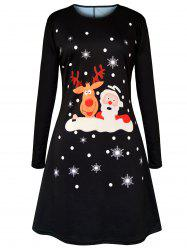 Christmas Cartoon Elk Santa Claus Printed Dress -