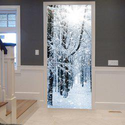 Snowy Forest Pattern Door Cover Stickers - Gray - 38.5*200cm*2pcs