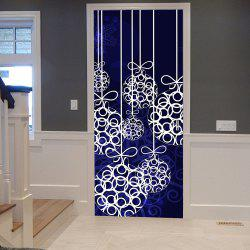 Christmas Hanging Baubles Pattern Door Cover Stickers - Deep Blue - 38.5*200cm*2pds