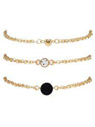 Rhinestone Heart Natural Stone Bracelet Set -