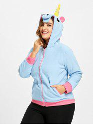 Plus Size Fleece  Zip Up Unicorn Hoodie -