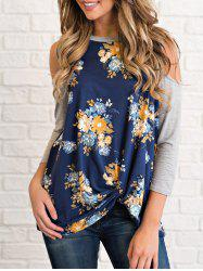 Cold Shoulder Floral Print T-shirt -