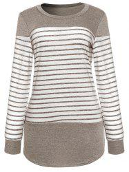 Long Sleeve Striped Panel T-shirt -