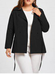 Double Breasted Drawstring Plus Size Jacket -