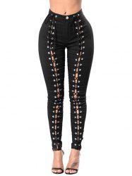 Skinny Lace-up High Waisted Pants -