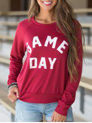 Round Neck Letter Print Pullover T-shirt -