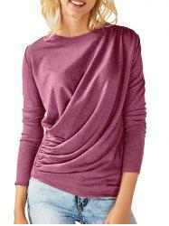 Draped Ruched Long Sleeves Tee -