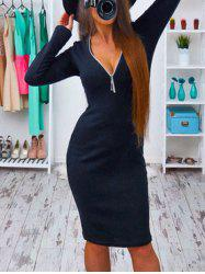 Low Cut Long Sleeve Bodycon Dress -