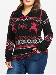 Plus Size Christmas Snowflake Elk Jacquard Sweater -