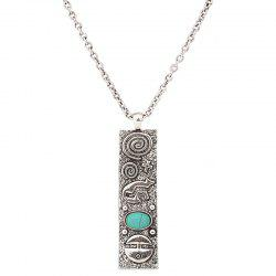 Artificial Turquoise Geometric Engraved Sweater Chain -