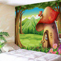 Wall Art Cartoon Forest Mushroom House Print Tapestry -