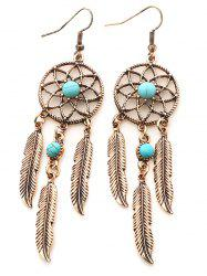 Artificial Turquoise Dream Catcher Feather Earrings -