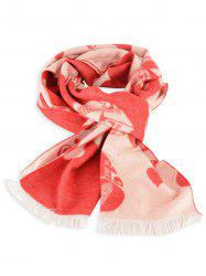 Letter Heart Pattern Winter Scarf with Fringed -