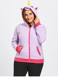 Fleece Plus Size Zipper Unicorn Hoodie with Pocket -